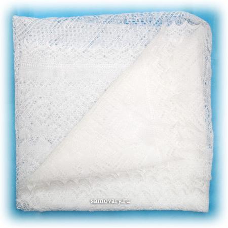 Оренбургский пуховый платок, паутинка белая, арт. А 140-01