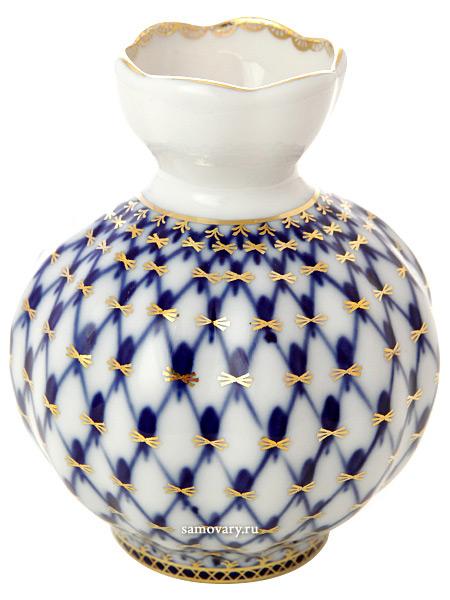 Ваза фарфоровая для цветов форма Тюльпан, роспись Кобальтовая сетка, Императорский фарфоровый заводФарфоровая ваза для цветов.<br>