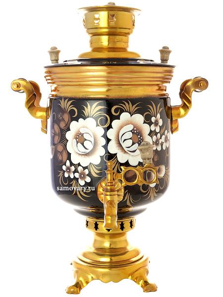 Угольный самовар 7 литров цилиндр с художественной росписью Жостово на черном фоне, арт. 220779Тульский латунный самовар классической формы с художественной росписью.&#13;<br>Труба для отвода дыма в комплекте.<br>