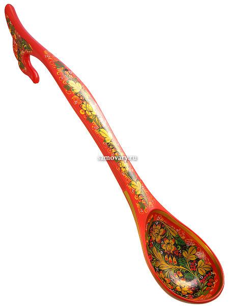 Ложка-ковш Хохлома на красномДеревянная ложка-ковш с хохломской росписью.<br>