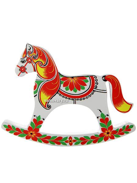 """Лошадка-качалка """"Белая"""" хохлома с ручной художественной росписью, арт. 6071 Тульские самовары"""