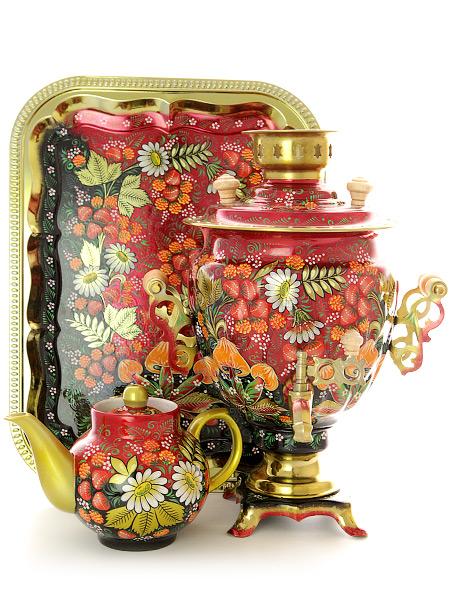 Набор самовар электрический 3 литра с художественной росписью Грибы, арт. 130646Самовары электрические<br>Комплект из трех предметов:латунный самовар, металлический поднос и заварочный чайник.<br>