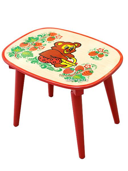 Детская мебель Хохлома - скамейка с художественной росписью, холодная роспись, арт. 82030000000Деревянная детская скамейка с художественной росписью.<br>Размер: 260х350х260 мм.<br>