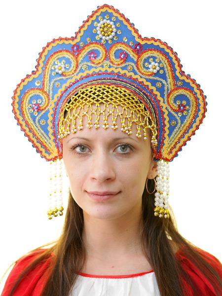 Кокошник Фантазия синийСимвол традиционного русского костюма.<br>
