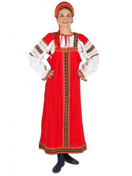 Русский народный костюм женский, хлопковый комплект красный