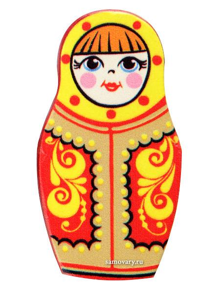 """Сувенирный магнит Хохлома """"Матрешка"""", арт. 1625520000 Тульские самовары"""