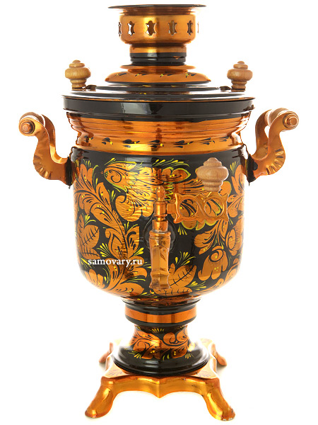 Электрический самовар 3 литра с художественной росписью Золотая хохлома, арт. 110357Самовары электрические<br>Латунный самовар с термостойкой росписью.<br>
