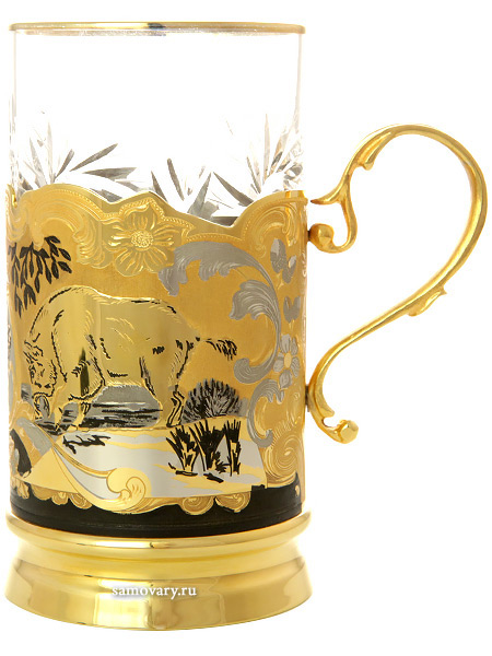 """Чайный набор """"Кабаны"""" (подстаканник, ложка, блюдце, хрусталь) Златоуст позолоченный Тульские самовары"""