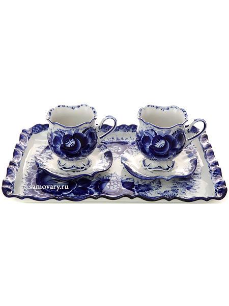 Набор кофейный с художественной росписью Гжель Для двоихГжельский набор из 2 кофейных пар и подноса.<br>