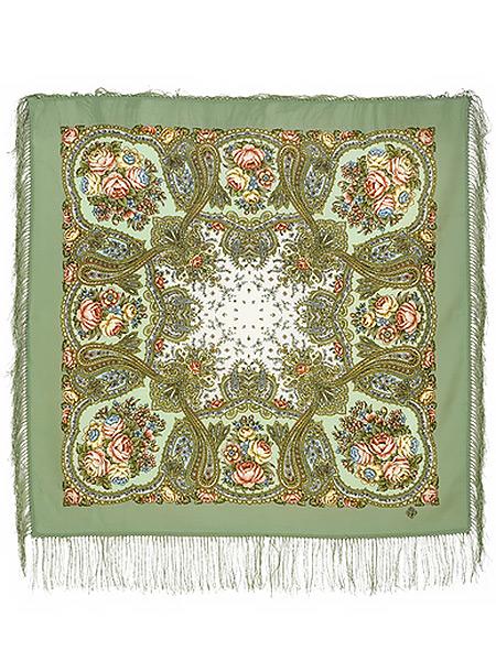 Шерстяной Павлопосадский платок Сольвейг, 89x89 см, арт. 1549-3Платок шерстяной с набивным рисунком и шелковой бахромой.<br>Размер 89*89 см.<br>
