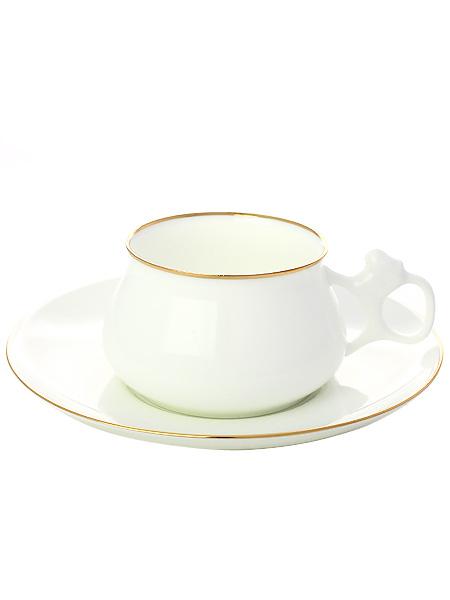 Чашка с блюдцем чайная форма Билибина, рисунок Золотой кантик, Императорский фарфоровый заводФарфоровая чайная пара.<br>Объем - 180 мл.<br>