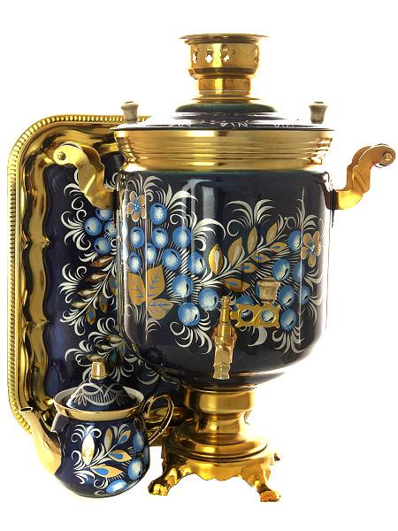 Набор самовар электрический 10 литров с художественной росписью