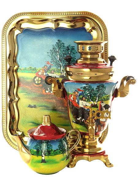 Набор самовар электрический 1,5 литра с художественной росписью Тройка летняя, арт. 140252Самовары электрические<br>Комплект из трех предметов:латунный самовар, металлический поднос и заварочный чайник.<br>