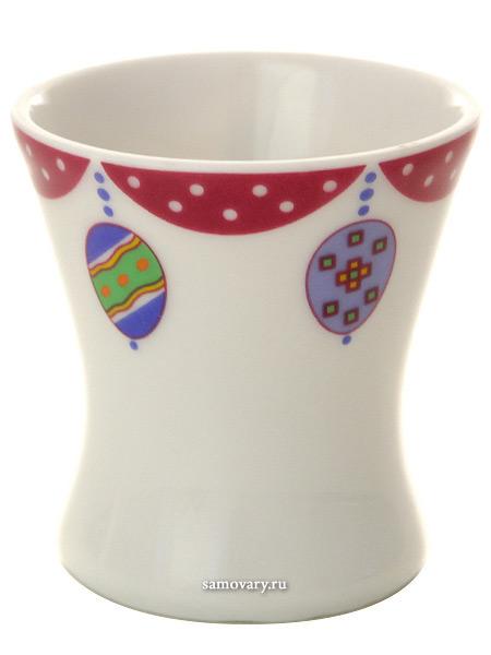 Рюмка для яиц форма Молодежная, рисунок Пасхальная трапеза.Аметист, Императорский фарфоровый заводФарфоровая рюмка-подставка для яиц.<br>