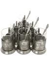 Набор подарочный с подстаканниками Вокзалы Москвы КольчугиноВ комплекте: 6 никелированных подстаканников с изображением вокзалов города Москвы, 6 тонкостенных стаканов, 6 чайных ложечек.<br>