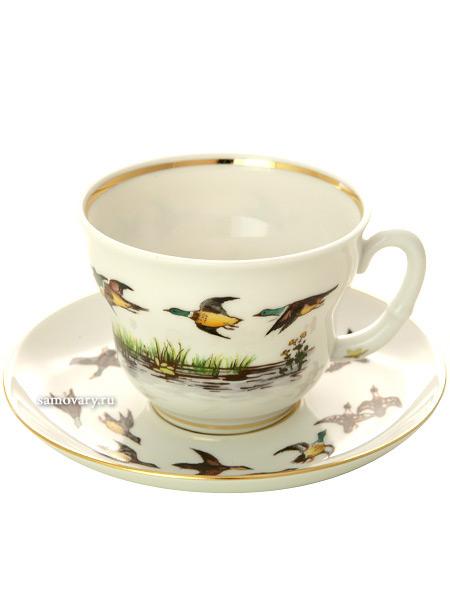 Сервиз чайный форма Сударыня рисунок Летят утки 6/14, Императорский фарфоровый заводСервиз чайный из 14 предметов: 6 чайных пар, чайник заварочный, сахарница.<br>