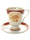 Фарфоровый бокал с блюдцем форма Классический рисунок Золотой Букетик Дулёво фарфорБокал с блюдцем на 1 персону.&#13;<br>Объем - 600 мл.<br>