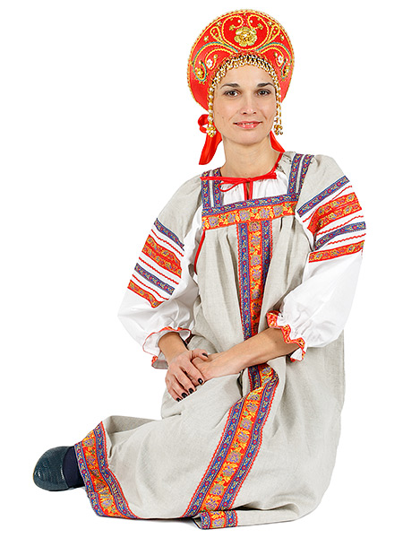 Русский народный костюм, льняной комплект бежевый