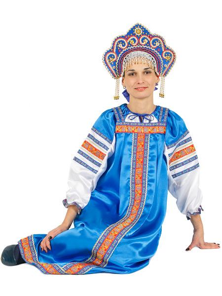 Русский народный костюм для женщины атласный комплект васильковый Василиса: сарафан и блузка, XS-LКрасочный русский костюм, размеры 40, 42, 44, 46, 48, 50. &#13;<br>Ткань - атлас. Цвет - васильковый.<br>