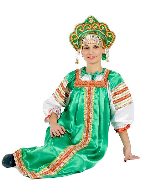 Русский народный костюм женский атласный комплект  зеленый Василиса: сарафан и блузка, XS-LКрасочный русский костюм, размеры 40, 42, 44, 46, 48, 50.<br>Ткань - атлас. Цвет - зеленый.<br>