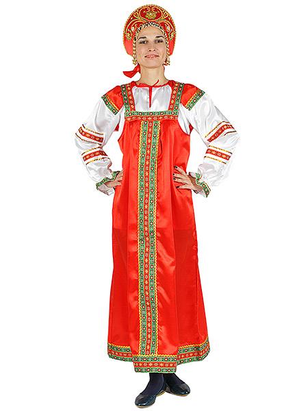 Русский народный костюм женский атласный комплект красный