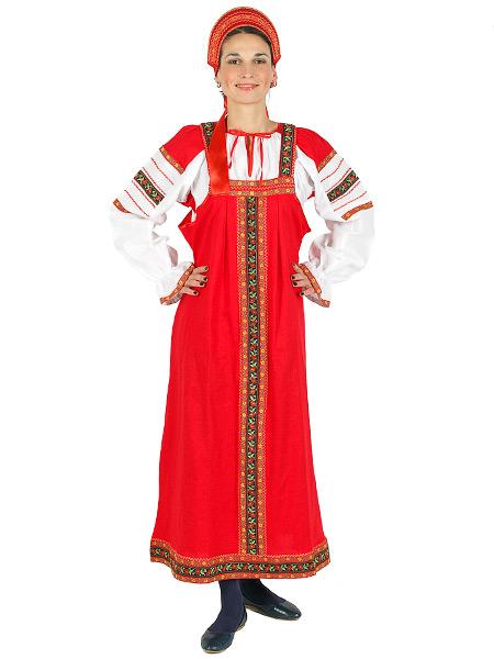 Русский народный костюм для танцев льняной комплект красный Забава: сарафан и блузка, XL-XXXLКрасочный русский костюм, размеры 52, 54, 56, 58.<br>Ткань - лен. Цвет - красный.<br>