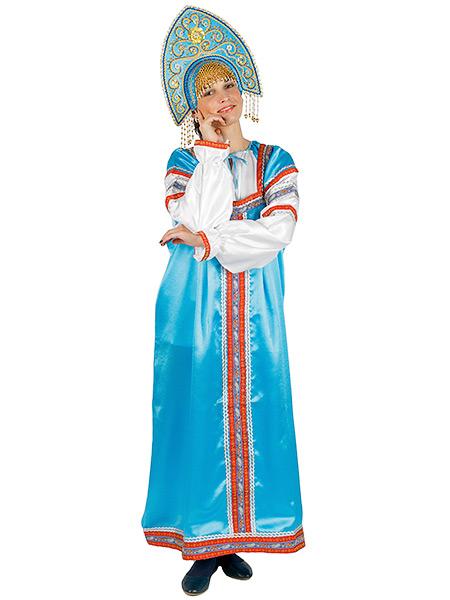 Русский народный костюм женский, атласный комплект голубой