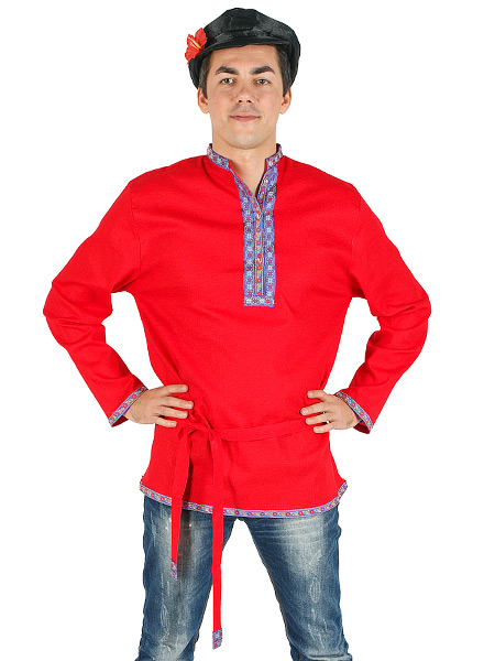 Косоворотка мужская льняная красная, XS-XXL