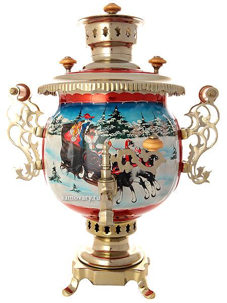 Комбинированный самовар 4,5 литра с художественной росписью Тройка зимняя, арт. 310724Самовар комбинированный&#13;<br>шар с красочной художественной росписью.&#13;<br>ТТруба для отвода дыма в комплекте.<br>