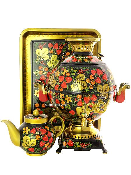 Набор самовар электрический 5 литров шар с художественной росписью Хохлома классическая, арт. 151396Самовары электрические<br>Комплект из трех предметов:латунный самовар, металлический поднос и заварочный чайник.<br>