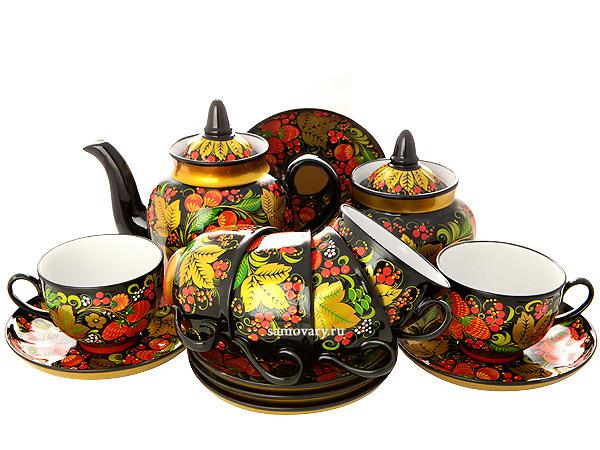 Чайный сервиз с художественной росписью Хохлома классическая на 6 персонКомплект на 6 персон с сахарницой и заварочным чайником.<br>Материал -керамика.<br>