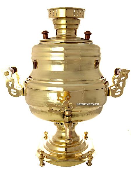 Угольный самовар 7 литров желтый ваза, арт. 220555Латунный самовар изящной формы.&#13;<br>Труба для отвода дыма в комплекте.<br>