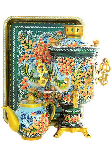 Набор самовар электрический 3 литра с художественной росписью Птица, рябина на бирюзовом фоне, арт. 155681Комплект из трех предметов:латунный самовар, металлический поднос и заварочный чайник.<br>