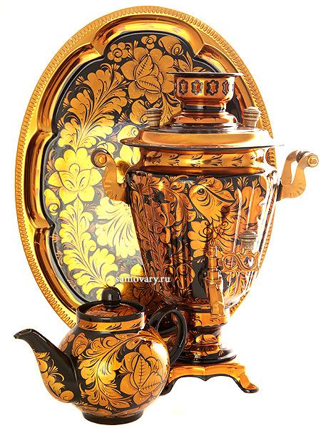 Набор самовар электрический 3 литра с художественной росписью Золотая  хохлома, арт. 140457Комплект из трех предметов:латунный самовар, металлический поднос и заварочный чайник.<br>