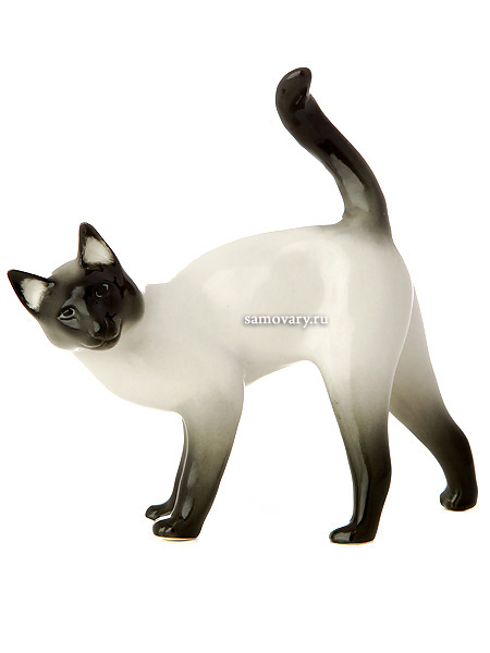 Скульптура Кошка сиамская, Императорский фарфоровый заводФарфоровая сувенирная фигурка животного.<br>