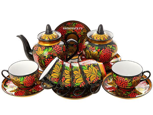 Чайный сервиз с художественной росписью Черный фон.Рябинка на 6 персонКомплект на 6 персон с сахарницой и заварочным чайником.&#13;<br>Материал - керамика.<br>