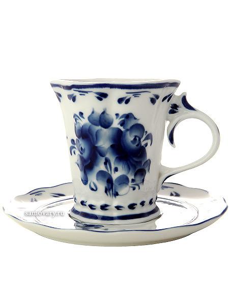 Чайная пара с художественной росписью Гжель КатеринаКерамическая чайная пара с ручной росписью.<br>Объем - 250 мл.<br>