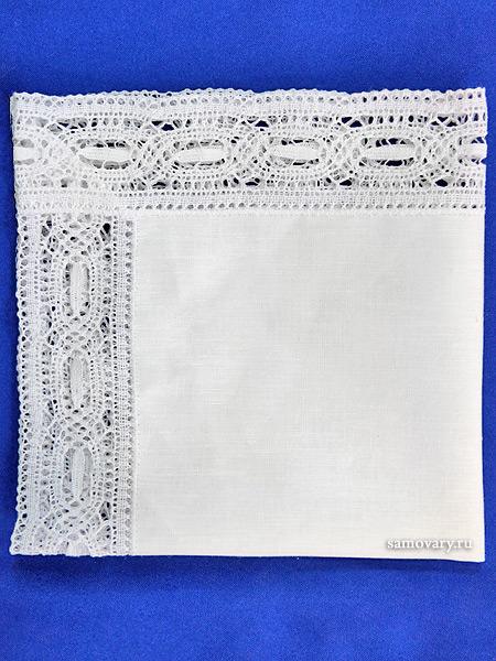 Льняная салфетка белая с белым кружевом (Вологодское кружево), арт. 6с-717, 33х33Льняная салфетка с кружевом.<br>Размер - 33*33 см.<br>