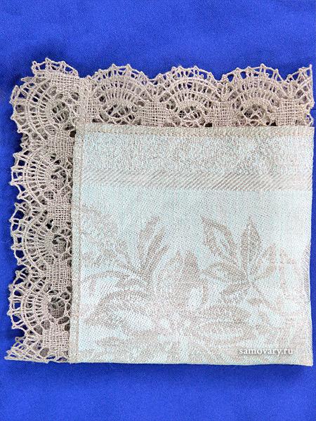 Льняная салфетка серая с темным кружевом(ручное плетение), арт. 6нхп-654, 33х33