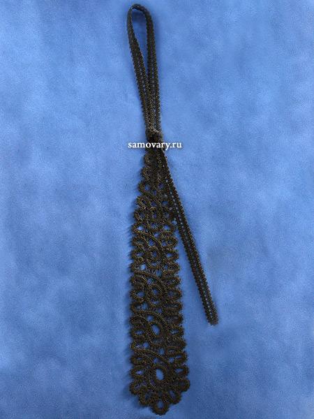 Вологодское кружево - галстук Капелька черный, арт. 4нхп-27Сырьё – нитка х/б, мулине.&#13;<br>Длина - 30 см.&#13;<br>Ручная работа.<br>