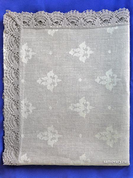 Льняная салфетка темно-серая с темным кружевом и кружевной отделкой (Вологодское кружево), арт. 7нхп-755, 115х65