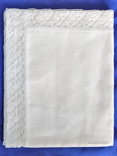 Вологодское кружево, льняная салфетка белая с белым кружевом и кружевной отделкой (Вологодское кружево), арт. 7нхп-755м, 115х65 Тульские