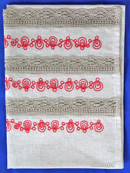 Хлопковое полотенце серое с красной вышивкой (Вологодское кружево), арт. 8нхп-841, 120х45Полотенце с вышивкой Вологодским кружевом.&#13;<br>Размер - 120*45 см.<br>