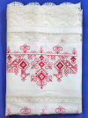 Льняное полотенце белое с вышивкой (Вологодское кружево), арт. 8нхп-841аПолотенце с вышивкой Вологодским кружевом.&#13;<br>Размер - 200*35 см.<br>