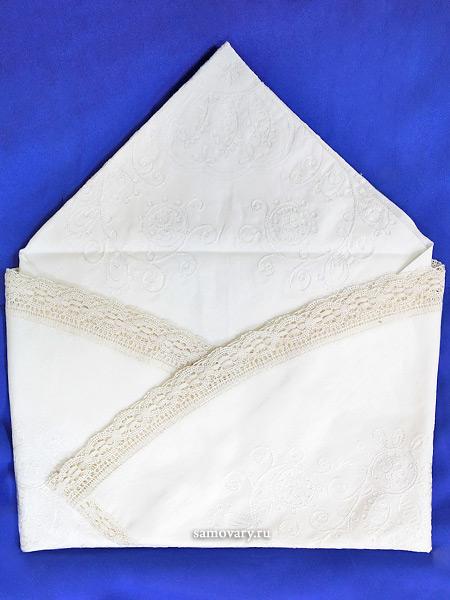 Льняная круглая скатерть белая со светлым кружевом и кружевной вышивкой (Вологодское кружево), арт. 1нхп-648, d-150Скатерть с Вологодским кружевом.<br>Диаметр - 150 см.<br>