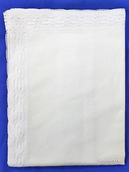 Льняная квадратная скатерть белая с белым кружевом и кружевной вышивкой (Вологодское кружево), арт. 1с-967, 150х150 Тульские самовары