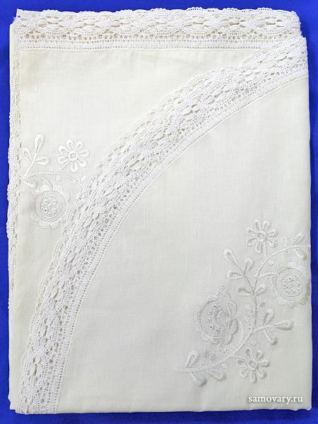 Льняная скатерть прямоугольная с закругленными краями белая с белым кружевом и кружевной вышивкой (Вологодское кружево), арт. 7c-969,