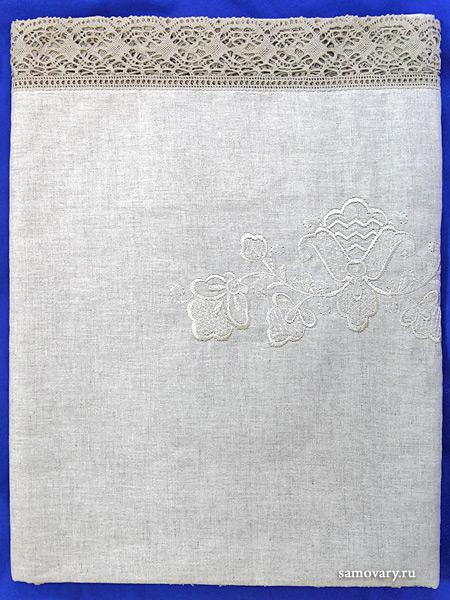 Льняная скатерть прямоугольная серая с серым кружевом (Вологодское кружево), арт. 1С-968, 230х150 Тульские самовары