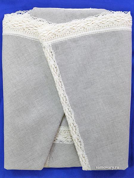 Льняная круглая скатерть темно-серая со светлым кружевом и кружевной вышивкой (Вологодское кружево), арт. 6с-643, d-175 Тульские самовары