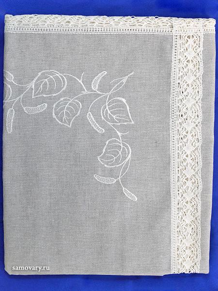 Льняная скатерть «Березка» прямоугольная серая со светлым кружевом и кружевной вышивкой (Вологодское кружево), арт. 11ст-326, 180х150